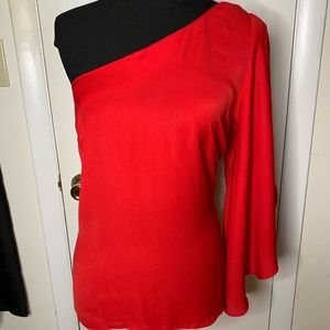 Worthington Blouse Red One Shoulder Flowing Sleeve